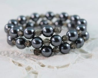 Beautiful Smokey Black Color Faux Pearl and Plastic Bead Wrap Around Bracelet
