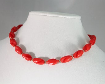 Simple Red and Golden Plastic Bead Necklace /