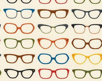 LAMINATED cotton fabric by the yard (similar to oilcloth) - Spec-Tacular eye glasses - WIDE - BPA free - Approved for children's products