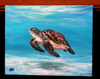 "Sea turtle painting on 8"" x 10"" canvas board, seascape original acrylic painting, unframed office art, wall decor art on canvas, home decor"