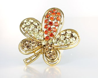 Clover Brooch, Orange Yellow Topaz Rhinestone Brooch, Multicolor Five Leaf Clover,  Luck of the Irish vintage jewelry
