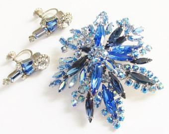 Vintage Sherman Blue Aurora Rhinestone Brooch Earrings signed