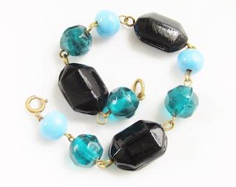 Vintage Blue Black Molded Glass Bead Bracelet Lampwork Turquoise  Bead 1940s