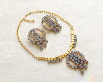 Vintage Huge Chunky Blue Rhinestone Necklace Earrings 1960s Statement