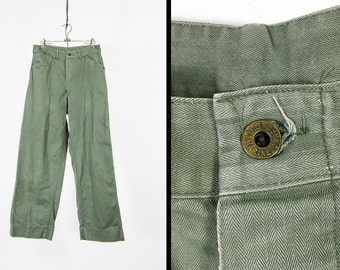 Vintage 1940s P-42 USMC Pants Green Cotton Twill Utility Trousers Button Fly - 29 x 30