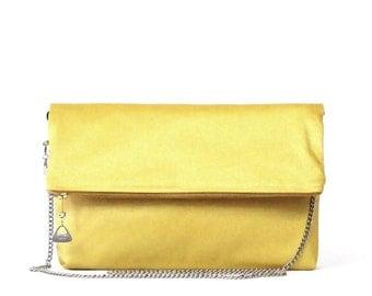 BARNABÉ, CLUTCH Bag, Metal Chain Shoulder strap, Yellow Glittery cotton