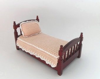 Dollhouse Miniature Bedspread and Pillow for 1:12 Scale Single Bed, Crocheted with Peach and White Soft Cotton Yarn  by Miniaturejoy