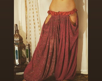 LILLYLOONS:. Magenta embroidered pantaloons with cutouts for tribal or tribal fusion bellydance.