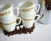 Vintage Pyrex, Mugs, Golden Butterfly, Butterfly Gold, Set of 4, Coffee Mugs, Retro, Mid Century, Cottage