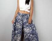 Denim Pants - Wide Leg Pants - Floral Blue Pants :  Soul of the Orient Collection
