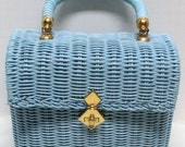 Vintage 60s Baby Blue WICKER HongKong for Garfinkels Handbag Box-Purse RESERVED for Deanna
