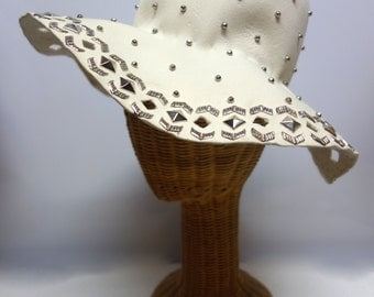 YSL Yves Saint Laurent Very Rare 60s/ 70s Floppy Creme Felt Hat with Cutouts and Silvertone Metal Embellishments