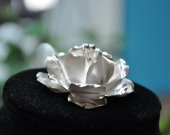 Gorgeous Sterling Silver Rose Pendant/Brooch/Pin