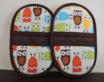 Mini Microwave Mitts-Oven Mitts-Pinchers-Multi-Color Owls w/Brown Trim-Free Shipping