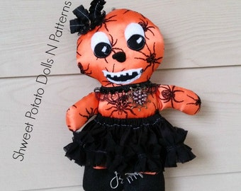 Primitive, Gothic, Pumpkin Man Cloth Doll, Art Doll, Halloween, Fall Doll, Spider Witch