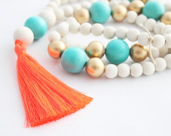 Tassel Necklace, Beaded Tassel Necklace, Statement Necklace, Orange, Turquoise, Gold, and White Wood Bead Tassel Necklace, Tassel Jewelry