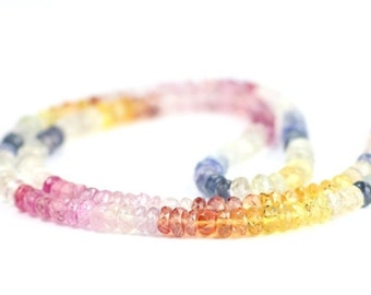 Valentines Sale Sapphire Micro Faceted Rondelles 10 Natural Multi Color Pink Orange Blue White Precious Gemstones