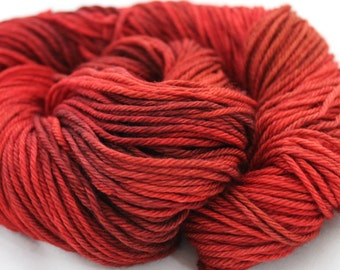 Hand Dyed Yarn - Worsted - Indie Dyed - Scarlet Cherry Ruby Crimson Red Yarn - Superwash Merino Yarn - Knitting - Crochet - 215yds - CORDIAL