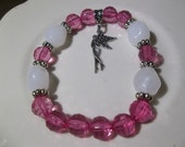 Fairy Charm and Round Pink Balls-Beaded Stretch Bracelet  (310)