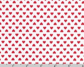 Sevenberry Petite Classiques - Hearts Poppy Red from Robert Kaufman