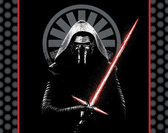Stars Wars 7 The Force Awakens - Black Star Wars Kylo Ren Panel from Camelot Fabrics