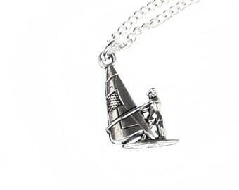 KETTE012APRME Windsurfers chain necklace of Miniblings 45 cm surfer surfboard wind surfing silver