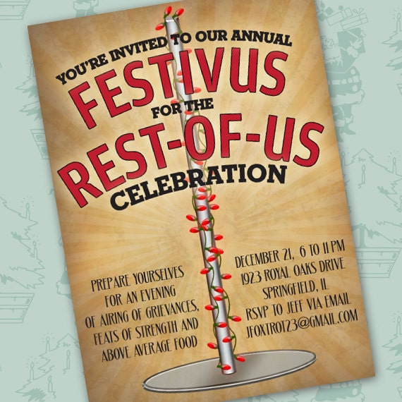 festivus for the rest of us celebration, festivus party invitation, Seinfeld Christmas, family Christmas party, festivus holiday, CC088