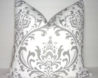 Grey & White Damask Pillow Cover Decorative Damask Throw Pillow Cover Euro All Sizes