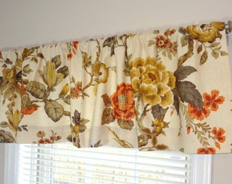 Curtain Valance Topper Window Valance 52x15 Gold Orange Grey Brown Floral Linen Valance