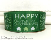 "St. Patrick's Wired Ribbon, 1 1/2"", Shamrocks Emerald Green Satin, TEN YARD ROLL,  Offray ""Happy Day"", Irish, St Pat's Day Wire Edged Ribbon"