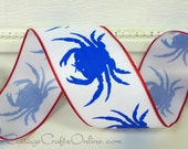 """Wired Ribbon, 1 1/2"""", Blue Crab Print on White, Red Edge - TWENTY FIVE YARD Roll, Offray - Summer, July 4th, Nautical, Wire Edged Ribbon"""