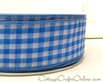 "Wired Ribbon, 1 1/2"" wide, Light Blue White Gingham Check Plaid - FIFTY YARD ROLL - Offray - Summer, Spring, Craft Wire Edged Ribbon"