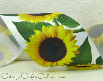 """Wired Ribbon, 2 1/2"""",  Golden Yellow Sunflower Print Satin  - THREE YARDS - Offray """"Fields"""" Made in the USA Spring, Flower Wire Edged Ribbon"""