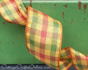 "Wired Ribbon, 2 1/2"" wide Plaid, Mustard Gold, Orange Cranberry - THREE YARDS  -  ""Feona"" Fall Check, Halloween Wire Edged Ribbon"