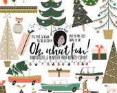 Cute Christmas Clipart Retro Christmas Trees Cars Light Strings Holiday Png files for Small CU like Planner Stickers Custom Card Template