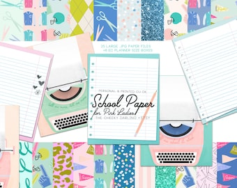Digital School Paper Retro Pink Ladies Football Game Day Glitter Sparkle Paper Files for Printed ...