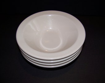 Homer Laughlin White Restaurant Ware Bowls - Set of 4 - Cereal Soup Salad Serving Bowls - Shabby Country Cottage Dishes - Collectible