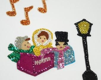 Mid-Century Christmas Felt Appliqued Sequins & Bead Carolers, Christmas felt carollers, Christmas Past, Repurposing, Upcycling, Rebirth ART