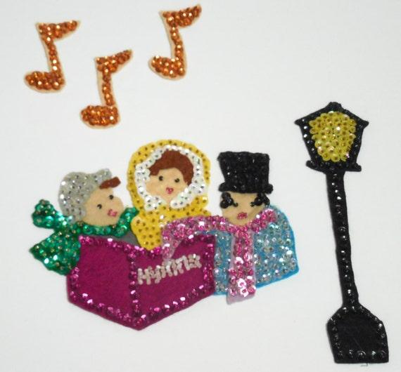 Vintage Christmas Decorations Mouse Carolers Set Jasco: Mid-Century Christmas Felt Appliqued Sequins & Bead Carolers