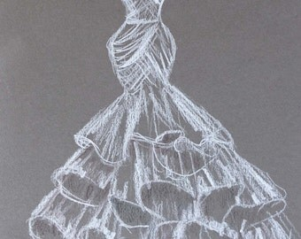Wedding dress drawing,  Custom Wedding dress sketch, white dress dark paper, Personalized First Year Paper Anniversary Gift 8x 12''