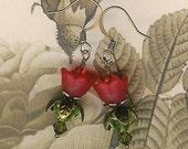 Red Flowers, Make Your Own Earrings Kit, DIY Earring Kit, Do It Yourself Jewelry, Bead Kit, Beginner Kit, Beaders Gift, Jewelry Maker Kit
