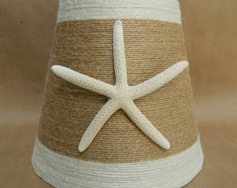 Small Hand Wrapped Jute Lampshade in Natural with White trim and Pencil Starfish