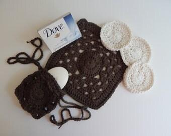 Crochet Drawstring Soap Saver, Face Pads & Washcloth - Brown and Natural - Cotton Spa Bath Gift Set