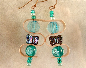Glass, and Metal Earrings - LE60