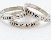 Stacking Rings - Name Ring - Sterling Silver Mom Ring - Personalized Rings - Hand Stamped custom rings - Stacking name rings - Stackers