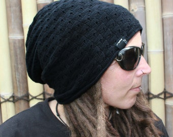 Black oversized super soft dreadlock beanie dread hat - Dreadlock accessories
