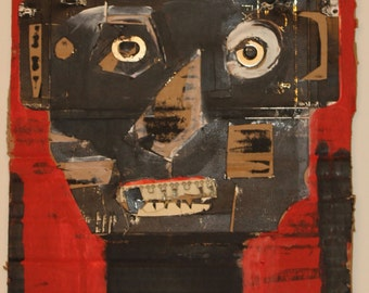 Red Robot Man Mixed Media Painting