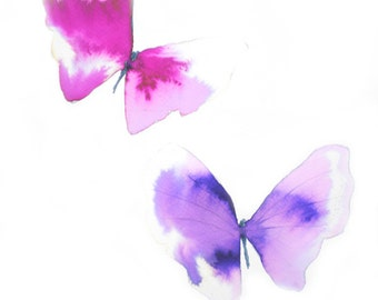 large pink and purple butterflies. original watercolour painting