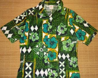 Mens Vintage 60s Jantzen Hibiscus Floral Hawaiian Aloha Shirt - M - The Hana Shirt Co