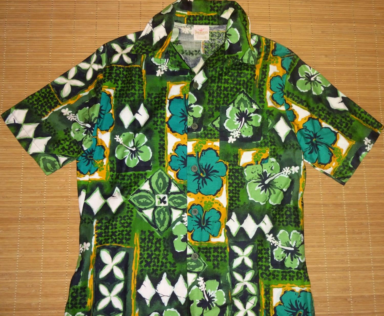 Mens vintage 60s jantzen hibiscus floral hawaiian aloha for The hawaiian shirt company